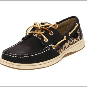 Sperry Bluefish Black/Gold Animal Print Top Sider